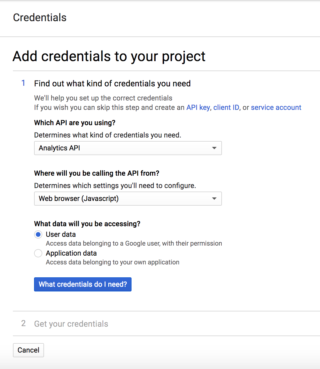 Google Analytics - Credentials Step 1