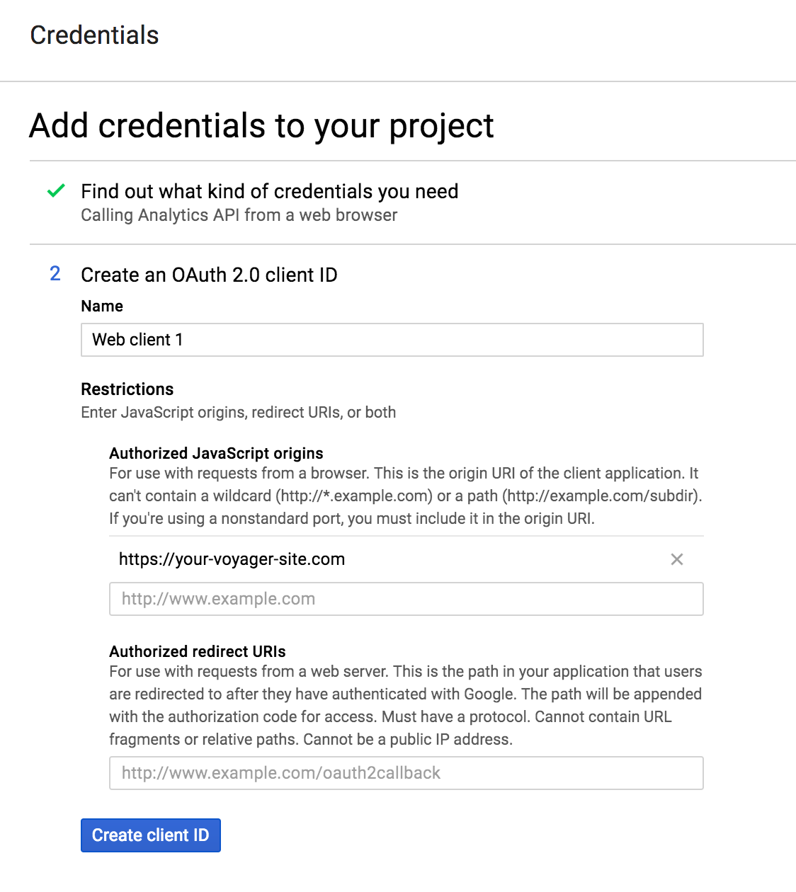 Google Analytics - Credentials Step 2